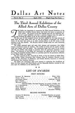 Primary view of object titled 'The Third Annual Exhibition of the Allied Arts of Dallas County'.