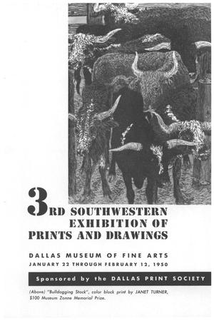 Primary view of object titled '3rd Southwestern Exhibition of Prints and Drawings'.