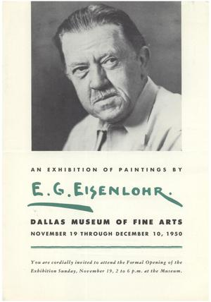 Primary view of object titled 'An Exhibition of Paintings by E.G. Eisenlohr'.