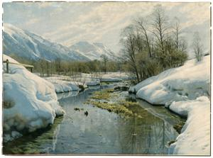 Print of Snowy Mountain and Creek Scene