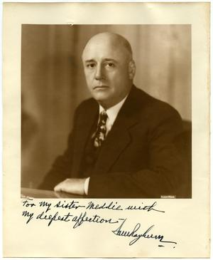 Primary view of object titled 'Autographed Photo of Sam Rayburn'.