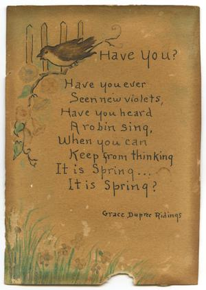 Poem by Grace Dupree Ridings