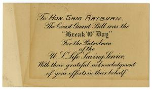 Primary view of object titled 'Gift Card to Sam Rayburn'.