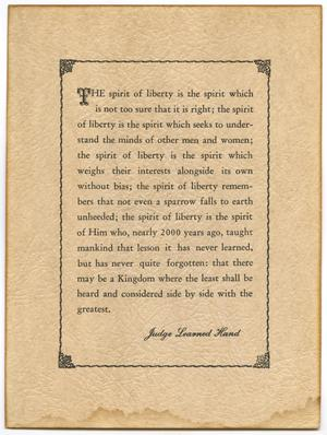 "Primary view of object titled 'Speech by Judge Learned Hand ""Spirit of Liberty""'."