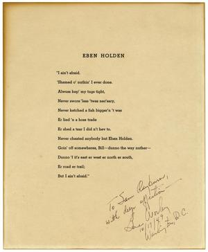 "Primary view of object titled 'Closing Lines from the Novel, ""Eben Holden""'."