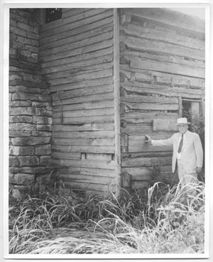 Primary view of object titled 'Photo of Sam Rayburn beside cabin in Lenoir, Tennessee'.