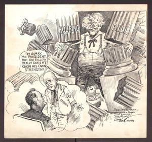 Primary view of object titled 'Political Cartoon by Clifford Berryman depicting Sam Rayburn and FDR'.