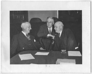Primary view of object titled 'Photo of Alfred E. Smith, Bernard Baruch and Sam Rayburn'.