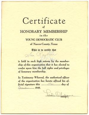 Primary view of object titled 'Certificate of Honorary Membership in the Young Democratic Club of Nueces County, Texas'.