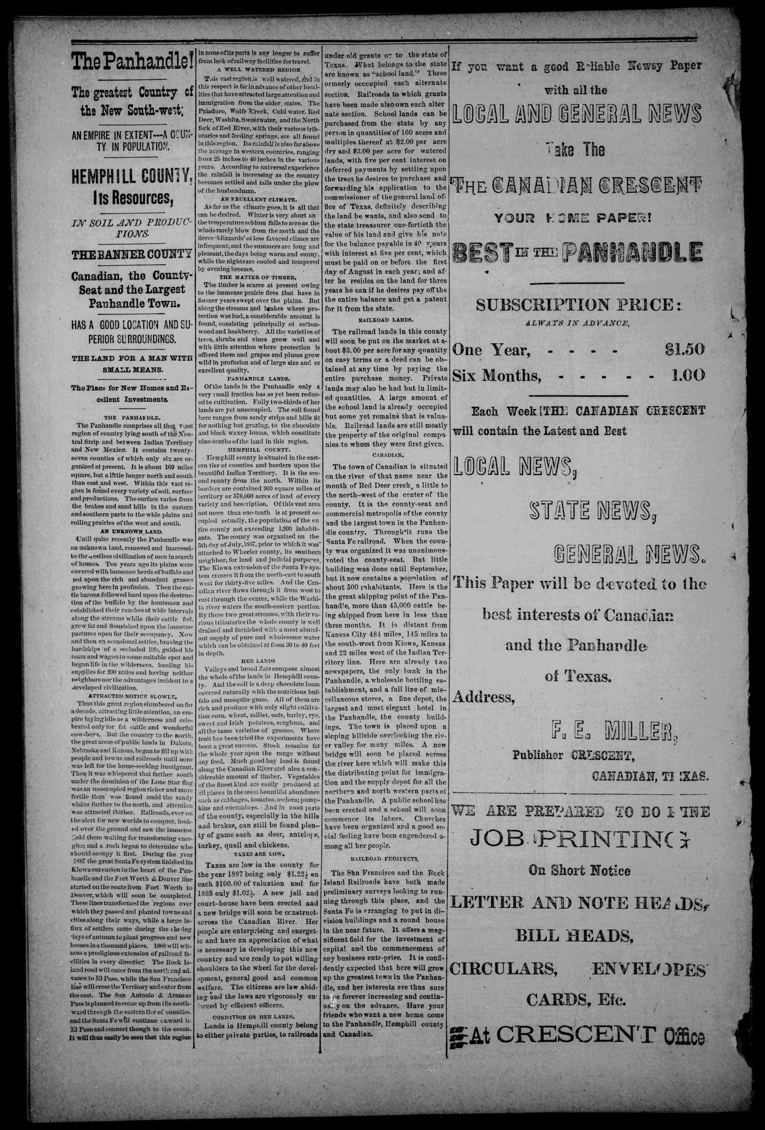 The Canadian Crescent. (Canadian, Tex.), Vol. 1, No. 25, Ed. 1 Thursday, April 19, 1888                                                                                                      [Sequence #]: 8 of 8