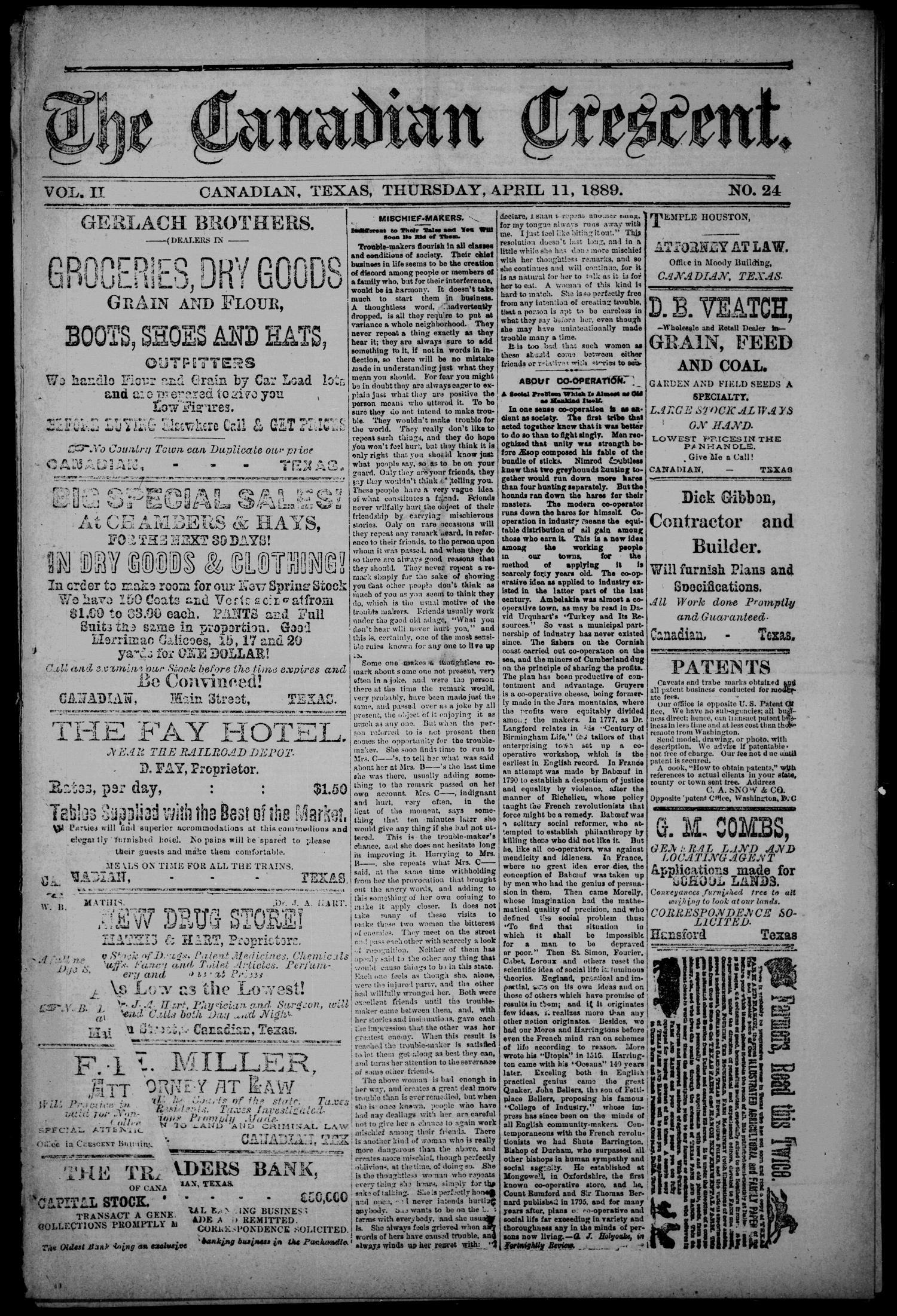 The Canadian Crescent  (Canadian, Tex ), Vol  2, No  24, Ed