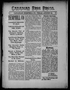 Canadian Free Press. (Canadian, Tex.), Vol. 1, No. 2, Ed. 1 Wednesday, August 31, 1887