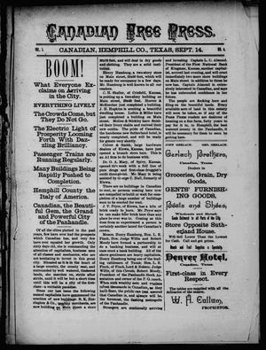 Primary view of object titled 'Canadian Free Press. (Canadian, Tex.), Vol. 1, No. 4, Ed. 1 Wednesday, September 14, 1887'.
