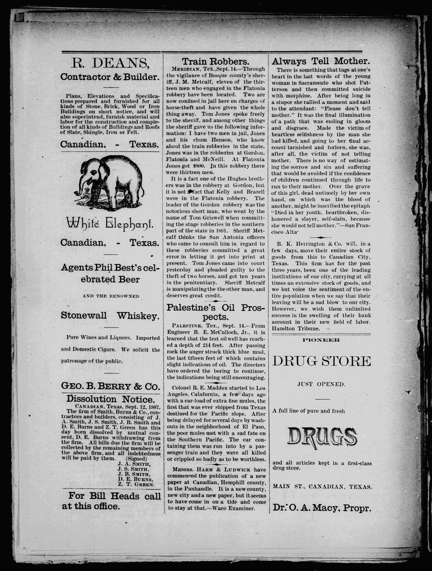 Canadian Free Press. (Canadian, Tex.), Vol. 1, No. 5, Ed. 1 Wednesday, September 21, 1887                                                                                                      [Sequence #]: 4 of 8
