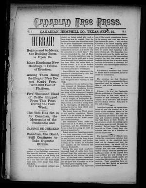 Canadian Free Press. (Canadian, Tex.), Vol. 1, No. 5, Ed. 1 Wednesday, September 21, 1887
