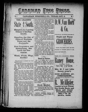 Canadian Free Press. (Canadian, Tex.), Vol. 1, No. 7, Ed. 1 Wednesday, October 5, 1887