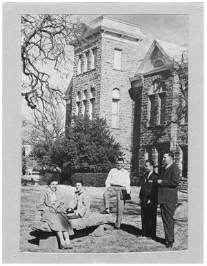 Primary view of object titled '[Five students outside the Old Main building, Weatherford College, 1956]'.