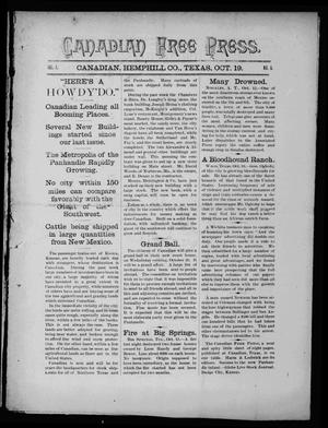 Primary view of object titled 'Canadian Free Press. (Canadian, Tex.), Vol. 1, No. 9, Ed. 1 Wednesday, October 19, 1887'.