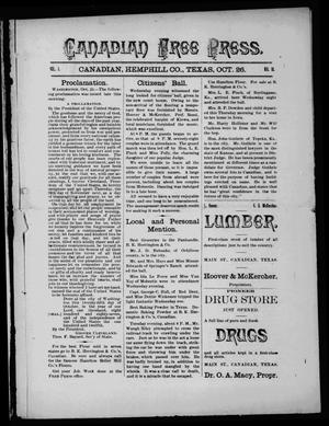 Primary view of object titled 'Canadian Free Press. (Canadian, Tex.), Vol. 1, No. 10, Ed. 1 Wednesday, October 26, 1887'.