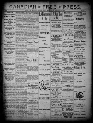 Primary view of object titled 'Canadian Free Press. (Canadian, Tex.), Vol. 1, No. 12, Ed. 1 Wednesday, November 9, 1887'.