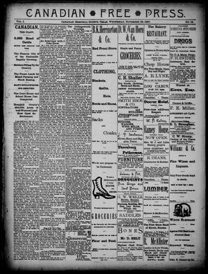 Primary view of object titled 'Canadian Free Press. (Canadian, Tex.), Vol. 1, No. 14, Ed. 1 Wednesday, November 23, 1887'.
