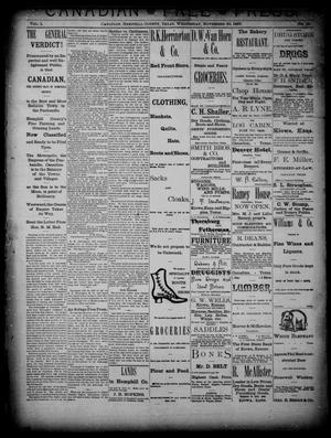 Primary view of object titled 'Canadian Free Press. (Canadian, Tex.), Vol. 1, No. 15, Ed. 1 Wednesday, November 30, 1887'.