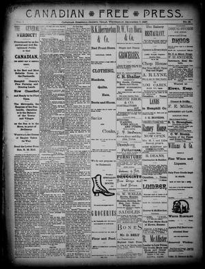 Primary view of object titled 'Canadian Free Press. (Canadian, Tex.), Vol. 1, No. 16, Ed. 1 Wednesday, December 7, 1887'.