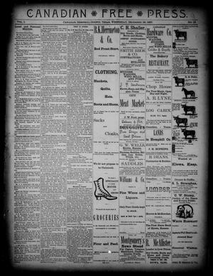Primary view of object titled 'Canadian Free Press. (Canadian, Tex.), Vol. 1, No. 19, Ed. 1 Wednesday, December 28, 1887'.