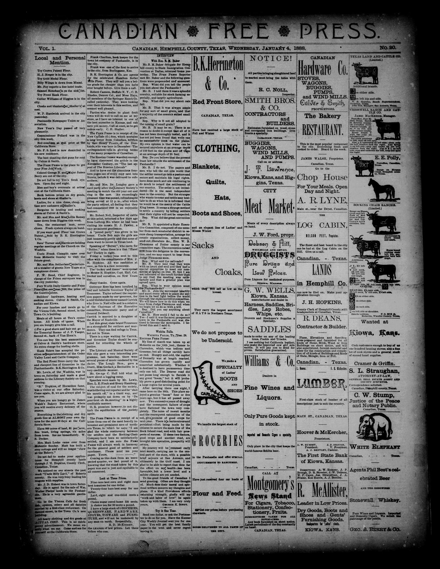 Canadian Free Press. (Canadian, Tex.), Vol. 1, No. 20, Ed. 1 Wednesday, January 4, 1888                                                                                                      [Sequence #]: 1 of 4