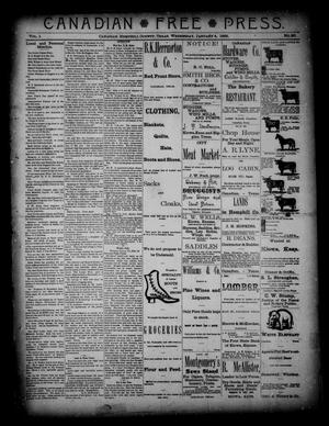 Primary view of object titled 'Canadian Free Press. (Canadian, Tex.), Vol. 1, No. 20, Ed. 1 Wednesday, January 4, 1888'.