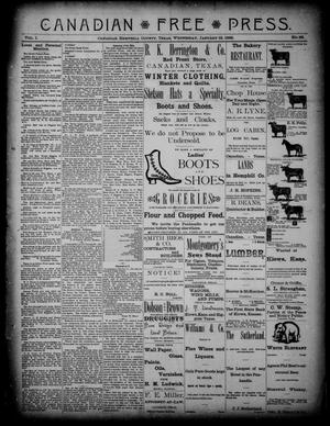 Primary view of object titled 'Canadian Free Press. (Canadian, Tex.), Vol. 1, No. 22, Ed. 1 Wednesday, January 18, 1888'.