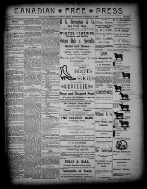 Primary view of object titled 'Canadian Free Press. (Canadian, Tex.), Vol. 1, No. 24, Ed. 1 Wednesday, February 1, 1888'.