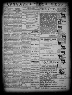Primary view of object titled 'Canadian Free Press. (Canadian, Tex.), Vol. 1, No. 29, Ed. 1 Wednesday, March 7, 1888'.