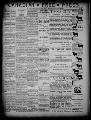 Primary view of object titled 'Canadian Free Press. (Canadian, Tex.), Vol. 1, No. 32, Ed. 1 Wednesday, March 28, 1888'.