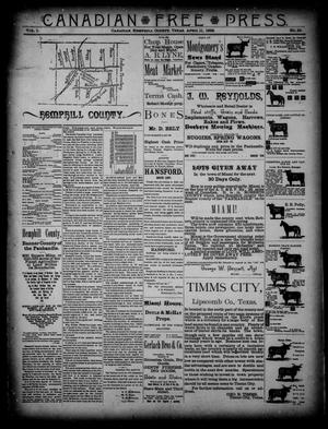 Primary view of object titled 'Canadian Free Press. (Canadian, Tex.), Vol. 1, No. 36, Ed. 2 Wednesday, April 11, 1888'.