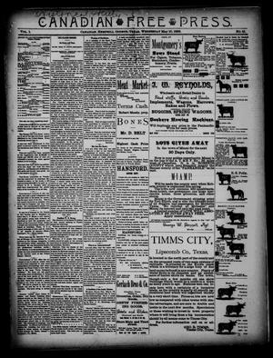 Primary view of object titled 'Canadian Free Press. (Canadian, Tex.), Vol. 1, No. 41, Ed. 1 Wednesday, May 16, 1888'.
