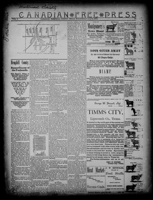 Primary view of object titled 'Canadian Free Press. (Canadian, Tex.), Vol. 1, No. 49, Ed. 1 Wednesday, July 4, 1888'.