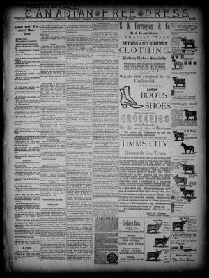 Primary view of object titled 'Canadian Free Press. (Canadian, Tex.), Vol. 2, No. 12, Ed. 1 Wednesday, October 17, 1888'.