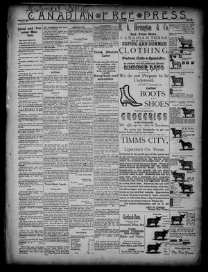 Primary view of object titled 'Canadian Free Press. (Canadian, Tex.), Vol. 2, No. 13, Ed. 1 Wednesday, October 24, 1888'.
