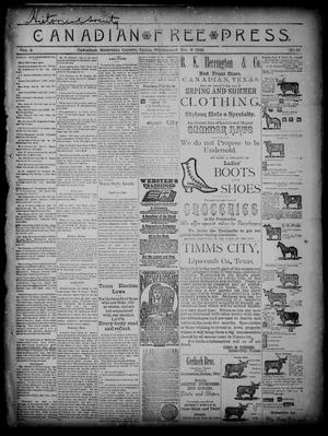 Primary view of object titled 'Canadian Free Press. (Canadian, Tex.), Vol. 2, No. 15, Ed. 1 Wednesday, November 7, 1888'.