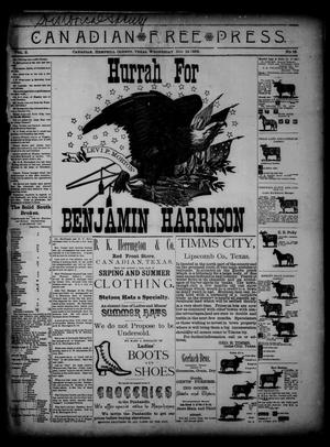 Primary view of object titled 'Canadian Free Press. (Canadian, Tex.), Vol. 2, No. 16, Ed. 1 Wednesday, November 14, 1888'.
