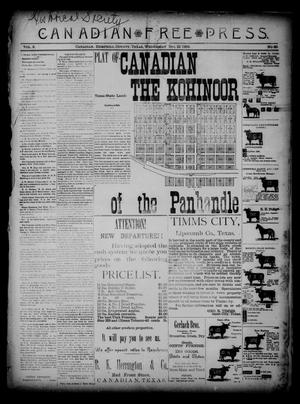 Primary view of object titled 'Canadian Free Press. (Canadian, Tex.), Vol. 2, No. 20, Ed. 1 Wednesday, December 12, 1888'.