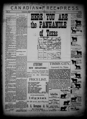 Primary view of object titled 'Canadian Free Press. (Canadian, Tex.), Vol. 2, No. 24, Ed. 1 Wednesday, January 9, 1889'.