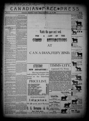 Primary view of object titled 'Canadian Free Press. (Canadian, Tex.), Vol. 2, No. 26, Ed. 1 Wednesday, January 23, 1889'.