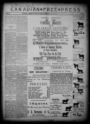 Primary view of object titled 'Canadian Free Press. (Canadian, Tex.), Vol. 2, No. 27, Ed. 1 Wednesday, January 30, 1889'.