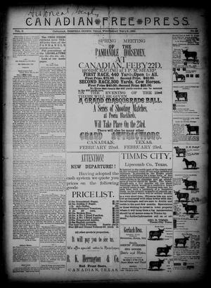 Primary view of object titled 'Canadian Free Press. (Canadian, Tex.), Vol. 2, No. 28, Ed. 1 Wednesday, February 6, 1889'.
