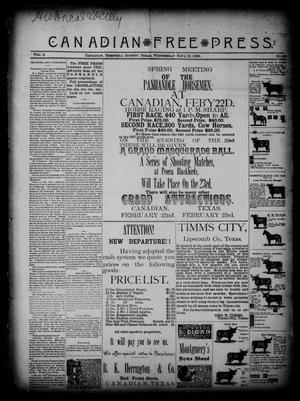 Primary view of object titled 'Canadian Free Press. (Canadian, Tex.), Vol. 2, No. 29, Ed. 1 Wednesday, February 13, 1889'.