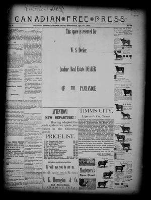 Primary view of object titled 'Canadian Free Press. (Canadian, Tex.), Vol. 2, No. 39, Ed. 1 Wednesday, April 24, 1889'.