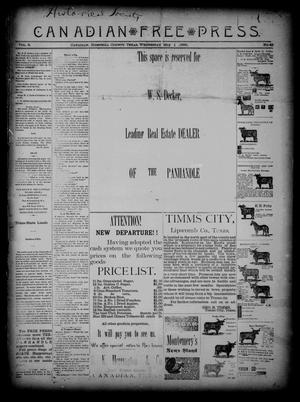 Primary view of object titled 'Canadian Free Press. (Canadian, Tex.), Vol. 2, No. 40, Ed. 1 Wednesday, May 1, 1889'.