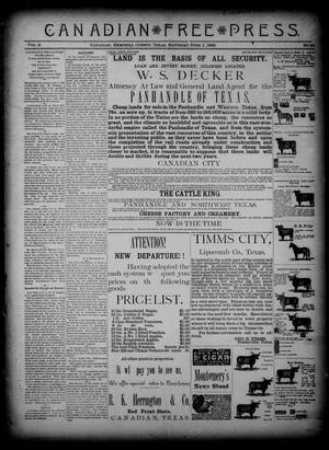 Primary view of object titled 'Canadian Free Press. (Canadian, Tex.), Vol. 2, No. 44, Ed. 1 Saturday, June 1, 1889'.